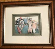 "Elizabeth Causton Signed Decoupage Hand made Original Framed Art-""Golfing Party"""