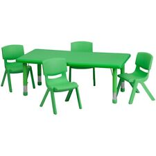 "Flash 24""Wx48""L Adjust Rect Green Plastic Activity Table Set w/4 Stack Chairs"