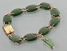 Stunning Antique Victorian 9ct Gold Nephrite Jade Bracelet c1900