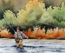 """Fly Fishing """"HOOKED UP"""" Watercolor 11 x 14 ART Print Signed by Artist DJR"""