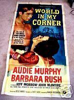 World in My Corner 3sh movie poster AUDIE MURPHY Boxing BARBARA RUSH 1956