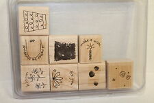 Stampin' Up Fun Filled Set of 8 Rubber Wood Mounted Stamps Flower Pot Wish NEW