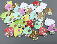 FREE DIY 50X Wooden Mushroom house shaps buttons sewing scrapbooking 15mm