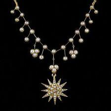 ANTIQUE VICTORIAN PEARL DIAMOND NECKLACE 15CT GOLD