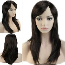 Fashion Long party full wig curly straight Dark Brown women full head cosplay s4
