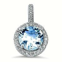 2.5 ct. Aquamarine & White Sapphire Halo Pendant Necklace in Sterling Silver