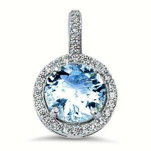 2.5 ct. Aquamarine & White Sapphire Halo Pendant Necklace in Sterling Silver