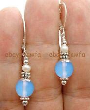 White Pearl Leverback Dangle Earrings Fashion Handmade Natural Blue Opal &