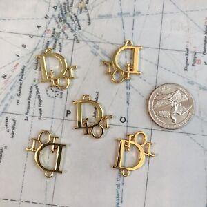 Set Of 5 Dior Flat Button 24*21mm Gold Metal Zipper Pull