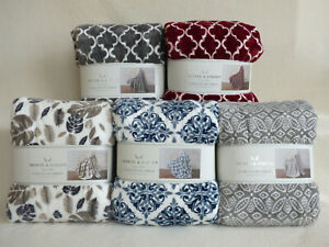 NEW! MONTE & JARDIN Ultra Plush Soft Washable Throw Blanket 60 x 70 **5 COLORS**