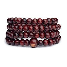 Vintage Natural 6mm Red Wood beads Prayer Mala Sandalwood Buddhist Bracelet NEW