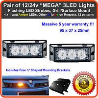 2 x 3LED 12/24V Land Rover LED amber strobe recovery breakdown beacons light bar