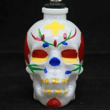 3.4''H White Glass Bong Water Smoking Hookah Skull Shape Hookah Bubbler Pipes