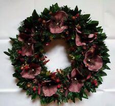 Large artificial pine and flower wreath burgundy red orchids, thistle home decor