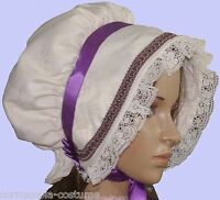 Ladies Victorian American Civil War Cream & purple  BONNET costume fancy dress