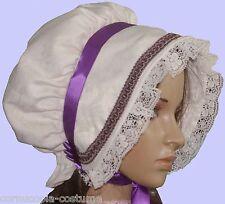 Ladies Victorian American Civil War Cream & purple  BONNET costume fancy dress