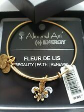 Retired Alex & Ani FLEUR DE LIS Gold Tone Bracelet New W Tags Card & Box