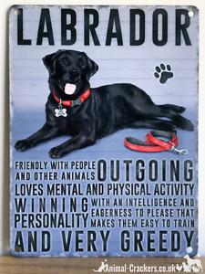 20cm metal vintage style Black Labrador lover breed character hang sign plaque