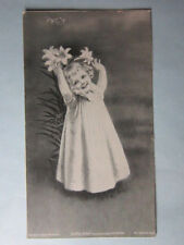 """Picture Card, 1903, Ida Waugh, """"So High"""" Girl & Tiger Lillies The Osborne Co, NY"""