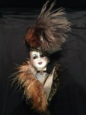 """18"""" Unique Creations Lady Face Mask Feathered Wall Hanging Decor"""