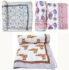 Baby Quilt Blanket Cotton Fabric Handmade Bedspread Indian Hand Block Bedding