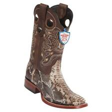 Men's Wild West Brown Python Wide Square Toe Boots Handcrafted