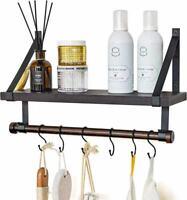 Wall Mounted Bathroom Shelf with Towel Rack and 6 Hooks, Rustic Storage Floating