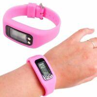 Pink Fitness Tracker Portable Lcd Wrist Watch Activity Running Walking Pedometer