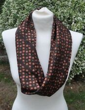 Infinity Scarf/snood in silk twill brown red, camel green
