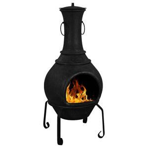 Maldonado Chiminea Black Cast Iron Firepits & Chimineas Outdoor Living Heating
