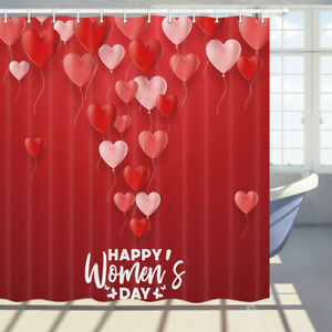 Valentine's Day Red Heart Shape Shower Curtain Waterproof Fabric Bath Curtain
