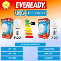 Eveready LED GLS Bulbs Lamp 5.5w = 40w 9.6w = 60w 14w = 100w B22 BC E27 EC 240V