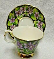 Royal Albert Provincial Flowers Purple Violet Demitasse  Cup and Saucer
