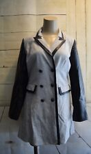 NEW XOXO Gray Black Faux Leather Button Down Tuxedo Pea Coat Jacket Size XL
