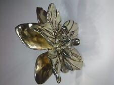 Vintage Sterling Silver,5 petals, double deck design, big flower brooch by J.E