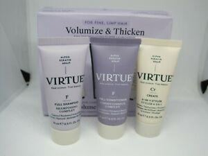 VIRTUE - Volumize & Thicken Set - For Fine Limp Hair - 3 x 15ml - 6 In 1 Styler