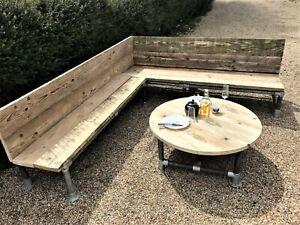 Outdoor Garden Corner Bench Sofa Scaffold board