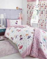 Girls Childrens Ballerina Pink Reversible Duvet Cover Bedding Set Curtains Throw