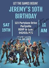 DIY Print Custom Girl Boy FORTNITE CHARACTERS Birthday Design Party Invitations