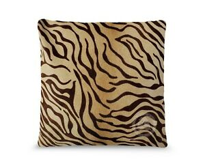 """Baby Zebra Brown Stripes on Beige 15X15"""" Cushion Leather Pillow Cover"""