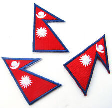 1 x Nepal Flag Embroidered Patch Nepalese Iron On National Emblem Mount Everest