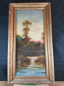 SALE  !!!   J. GRA ... ??? INDISTINCTLY SIGNED VINTAGE PAINTING COUNTRY HOUSE