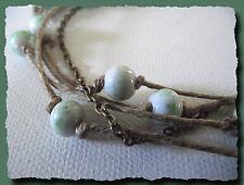 Collier lin & bronze perles céramique blanc et vert necklace fête des mères