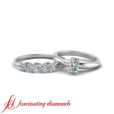 One Carat Radiant Cut Diamond Solitaire Engagement Ring & Matching Wedding Band