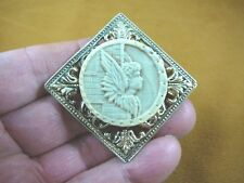 (cm84-5) Mercury Hermes wings round gray cameo brass Pin Pendant Jewelry brooch