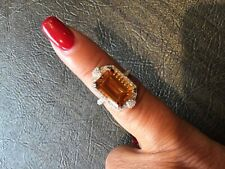 JUDITH RIPKA Sterling Silver Citrine & CZ ring Size 7