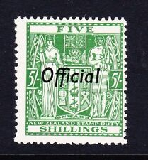 NEW ZEALAND 1936-61 5/- GREEN OFFICIAL SG O133 MNH.