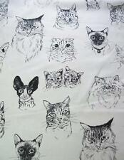 Meow Wow Wow Tea Drawings Black Line Cat Faces Alexander Henry Fabric Yard