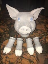 Vtg Pig Head & Hooves Ceramic Doll Parts For Doll Making - Repair Ooak Crafting