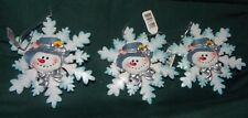 Snowflake Christmas Ornament Lot of 3 Snowmen faces - NWTS